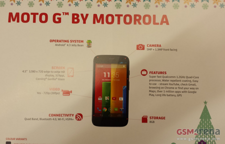 Budget Moto G pricing and spec leak: £135 off-contract in UK this Christmas