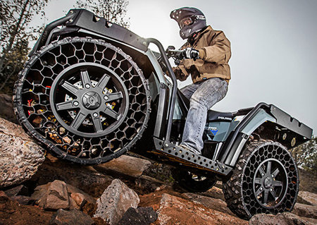 The Polaris Sportsman WV850 ATV is tough, machine gun bullets can't even stop it