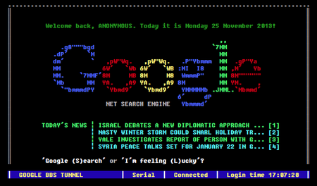 Website of the day: Google BBS Terminal