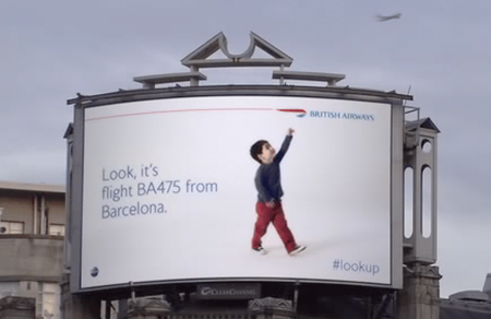 British Airways latest billboard campaign will get you to look up