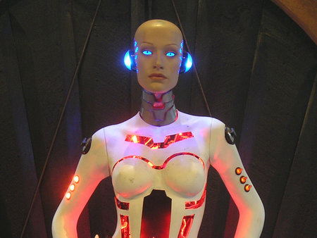 Hoping for an iPhone dock this Christmas, how about a life-size flashing Robot Girl?