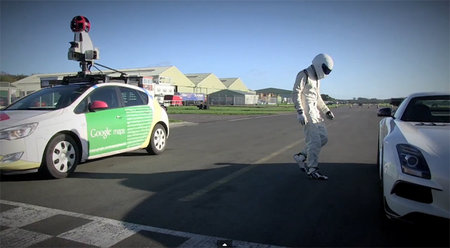 The Stig takes on a Google Street View car around the Top Gear test track (video)