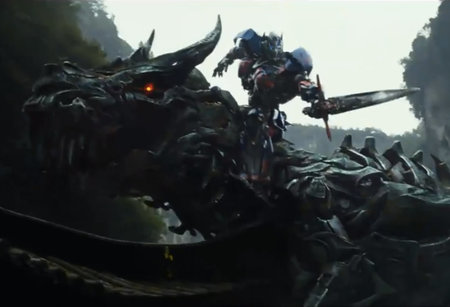 Transformers: Age of Extinction sees Optimus Prime riding a robot dinosaur