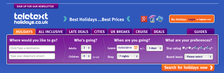Website of the day: Teletext Holidays
