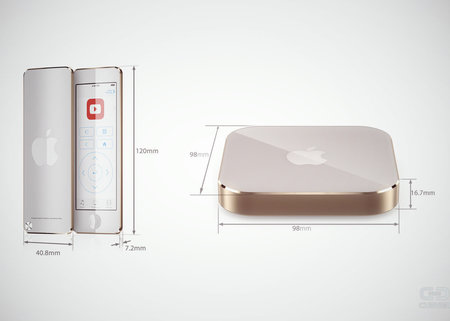 Apple TV concept takes on iPod nano-like remote with iPhone-like gold design