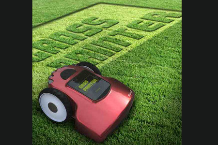 Grass Printer cuts shapes and letters into the lawn, autonomously