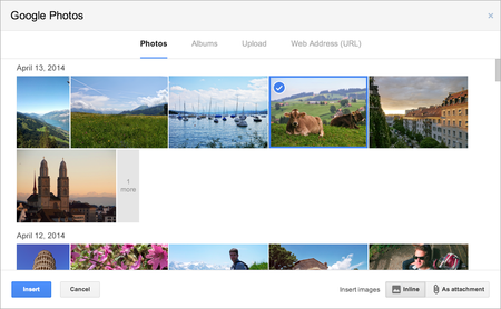 You can now insert Google+ photos into Gmail messages and re-size them inline