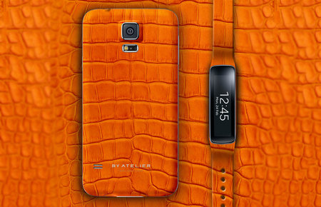 Always wanted an orange alligator skin Samsung Galaxy S5 and Gear Fit? By Atelier says you can