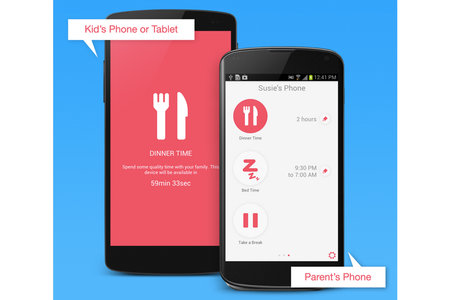 Remotely lock a child's tablet or phone using DinnerTime app