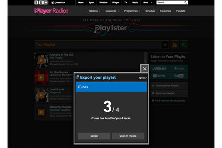BBC Playlister now allows listeners to export tracks to iTunes