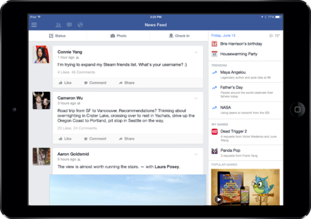 Facebook for iPad update brings new right-hand column with content just for gamers