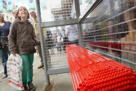 Lego bus stop appears in London replacing the real thing