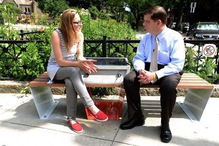 Solar-powered park benches that recharge phones? We've got them, says Boston