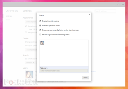 Chrome OS adds handy features: multi-user login, Settings window, and more