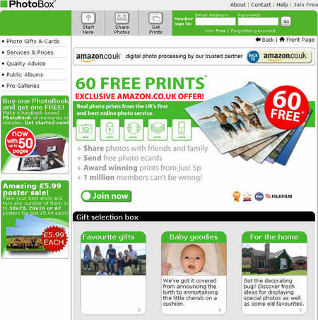 Free prints promotion from PhotoBox and Amazon.co.uk
