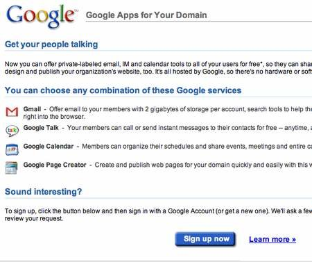 Google launches Google Apps for Your Domain business services