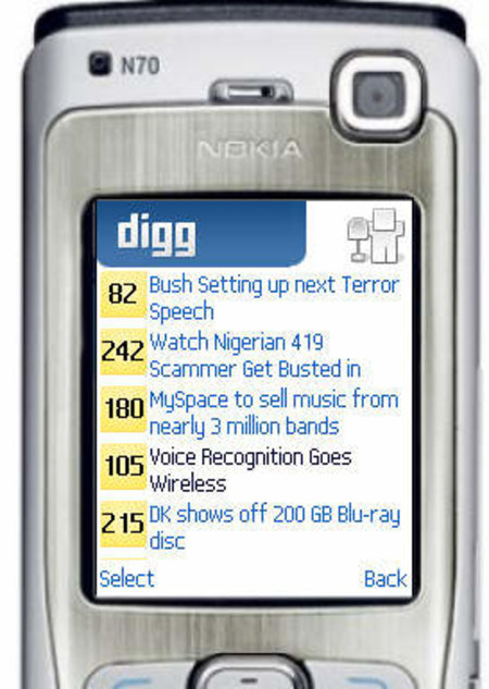 Digg application for mobile phones gives Diggers instant access to the site