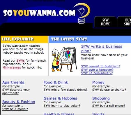 WEBSITE OF THE DAY - soyouwanna.com