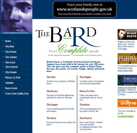 WEBSITE OF THE DAY - rabbie-burns.com