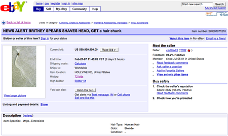 Britney Spear's hair for sale on eBay