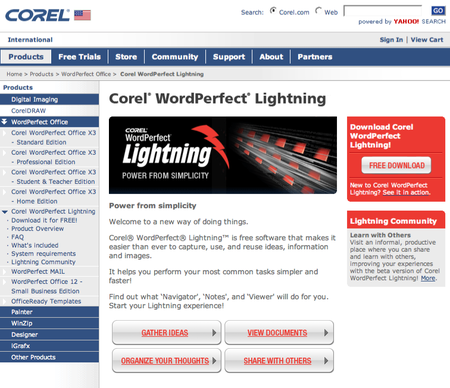 Corel offers WordPerfect Lightning beta