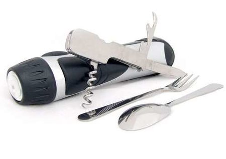Hollow camping torch holds cutlery set