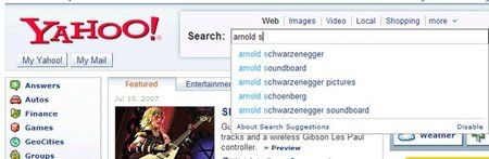 "Yahoo.com intros ""Search Suggest"" automatic suggestions"