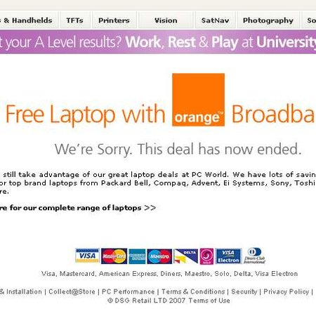 PC World and Orange free laptop offer ends abruptly