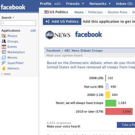 Facebook gets US Politics Application