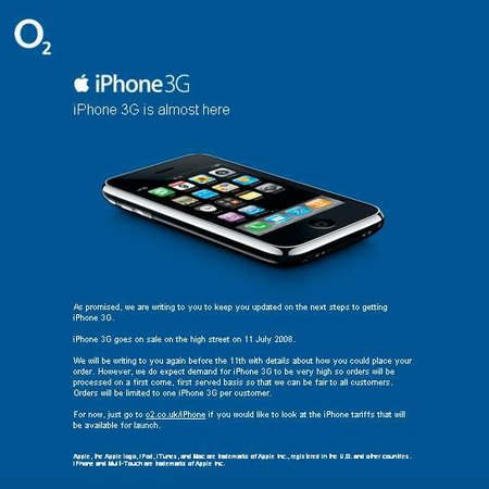 O2 sends iPhone 3G teaser