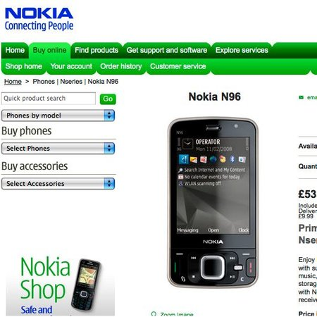 Nokia N96 goes on pre-order in UK