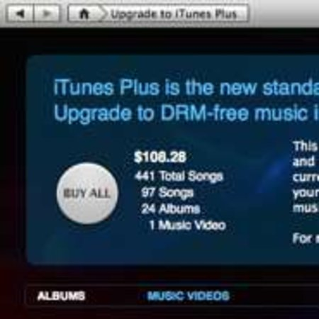 iTunes Plus upgrades offered on track by track basis