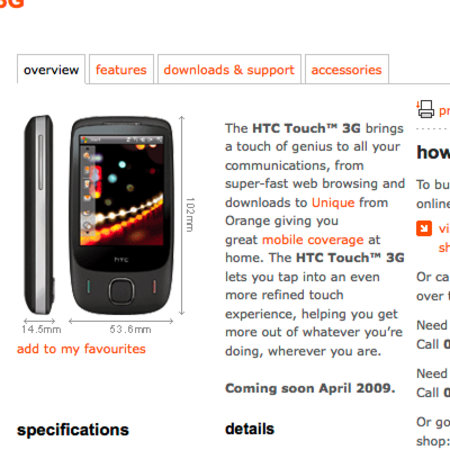 HTC Touch 3G comes to Orange