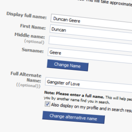 Facebook adds alternate name functionality