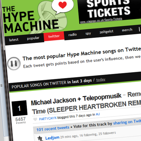 Hype Machine launches Twitter music chart