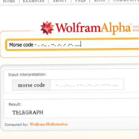 Wolfram Alpha offers Morse code translation