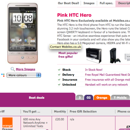 HTC Hero goes pink and brown