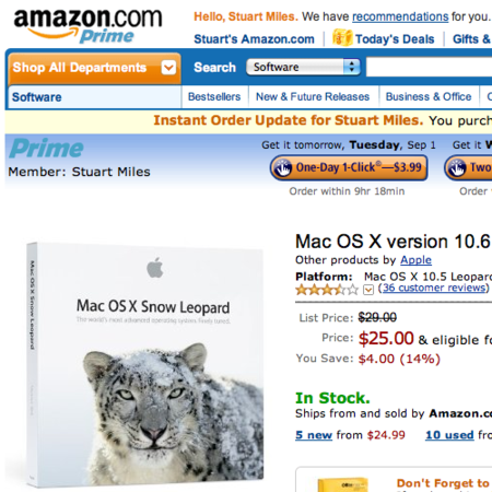 Amazon discounts Snow Leopard in UK and US