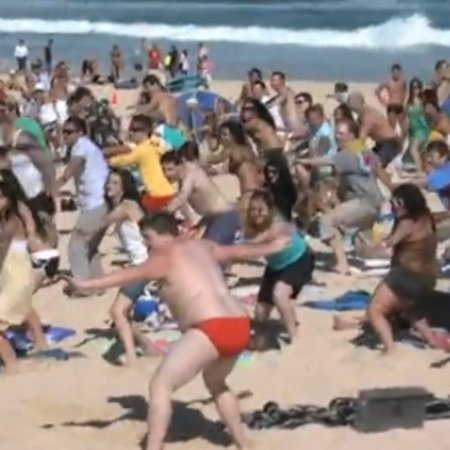 VIDEO: Flip does a T-Mo with flash mob dance on Bondi beach