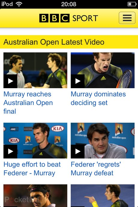BBC Sport video iPod touch