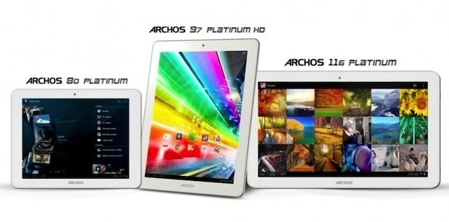 Archos unveils three quad-core Platinum tablets: 8-inch, 9.7-inch, 11.6-inch. Archos, Tablets, Google, Android, Jelly Bean 0