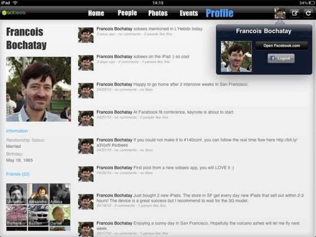 VIDEO: Sobees unofficial Facebook iPad app - photo 2