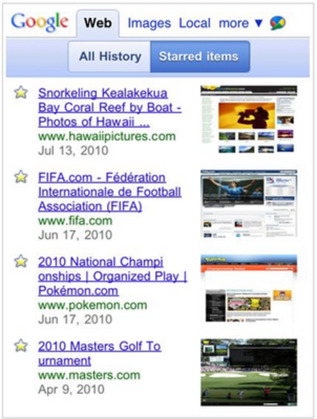 Google goes mobile with web history - photo 4