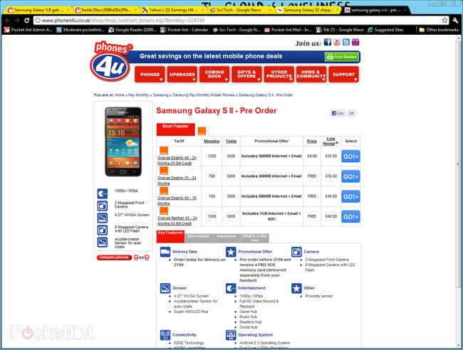 Phones 4u lists Samsung Galaxy S II delivery as 27 April - photo 3
