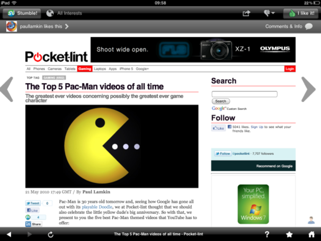 StumbleUpon iPad app revamped and available now - photo 1