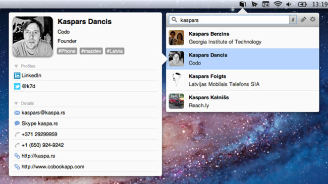 Cobook: the ultimate social Address Book for Mac - photo 1