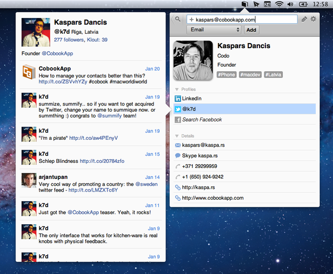 Cobook: the ultimate social Address Book for Mac - photo 4