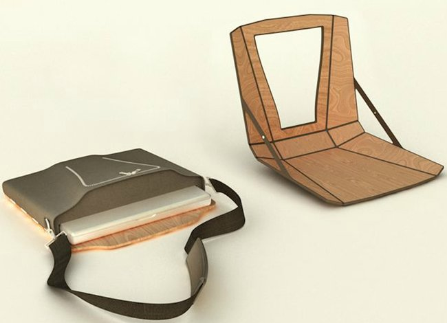 OpenAire laptop bag transforms into a chair and mobile workdesk - photo 7