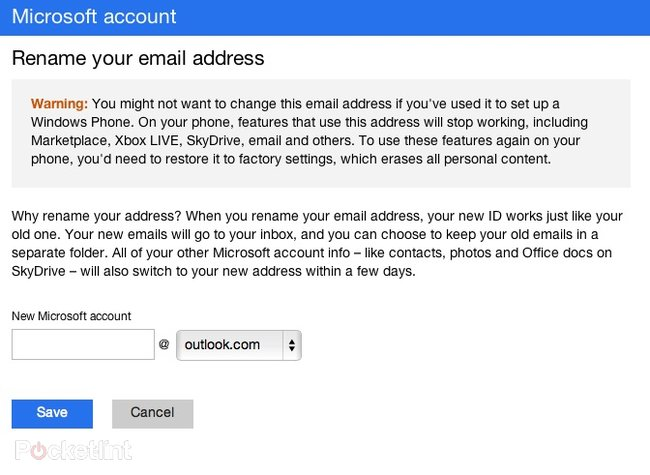 Windows Phone 7 users can update their email addresses to Outlook.com without restore - photo 2