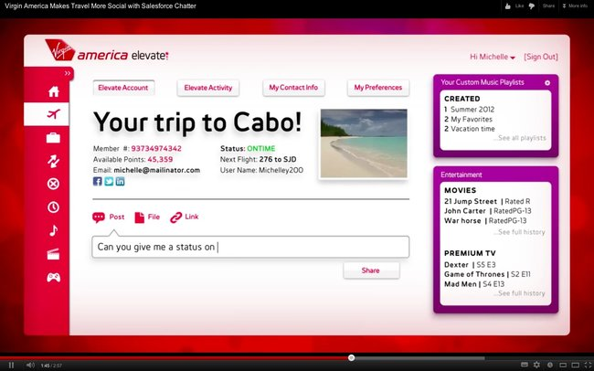 Virgin America to introduce new intelligent social personalised in-flight entertainment system - photo 2